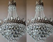 Vintage Crystal PAIR OF CHANDELIERS Art Nouveau Lighting Home ChandeliersAntique French Vintage Crystal Chandelier  Lamp Lighting Fixture