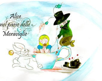 alice in the wonderland, kid illustration, disegno camera bambini,alice nel paese delle meraviglie, illustration, fairy tales illustration