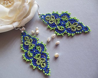 Bright summer earrings, tatted lace earrings, blue and Lime green earrings,  Lime green jewelry, bright jewelry