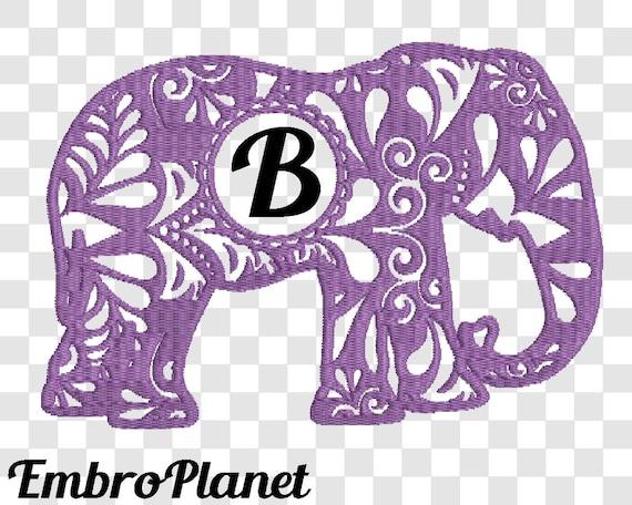 Circle frame zentangle elephant v design for embroidery
