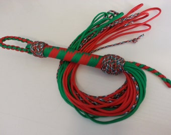 School girl tartan Paracord Flogger Red and green - BDSM - S & M and kinky fetish play - role play
