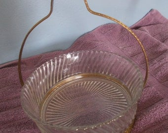 Vintage Candy Dish Gold Metal Handle