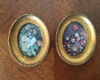 Mid Century Gold Leaf Frames, Art print set, Floral Bouquet, Italian Oval Frames
