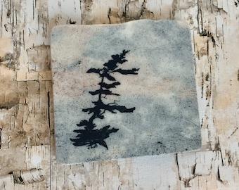 Natural Stone Coaster - Windswept Tree