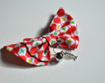Christmas cat bow tie with pet charm and bell - fancy cat bow tie - cute cat bow tie