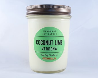 Coconut Lime Verbena Handmade Soy Candle | Coconut Candle | Wedding Favor | Soy Candle Gift | Handmade Candle | Soy Candle with Lid