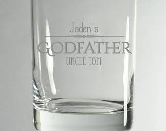 Godparent Engrave Glasses, SHIPS FAST, Etched Rocks Glasses, BourbonGlass,Gift for Godparents, GodFather Glass,