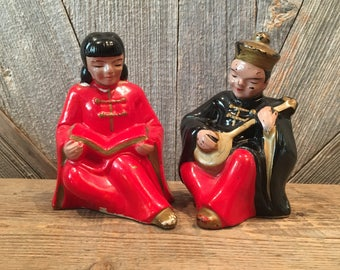 Vintage Asian figurine {Chinese Couple Ceramic Pair} Man with Instrument, Woman Reading Book. Ceramic Figurine Glass Collectibles Antiques