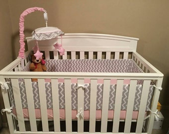 Reversible Custom Handmade Crib Bumpers with Piping  (made to order)