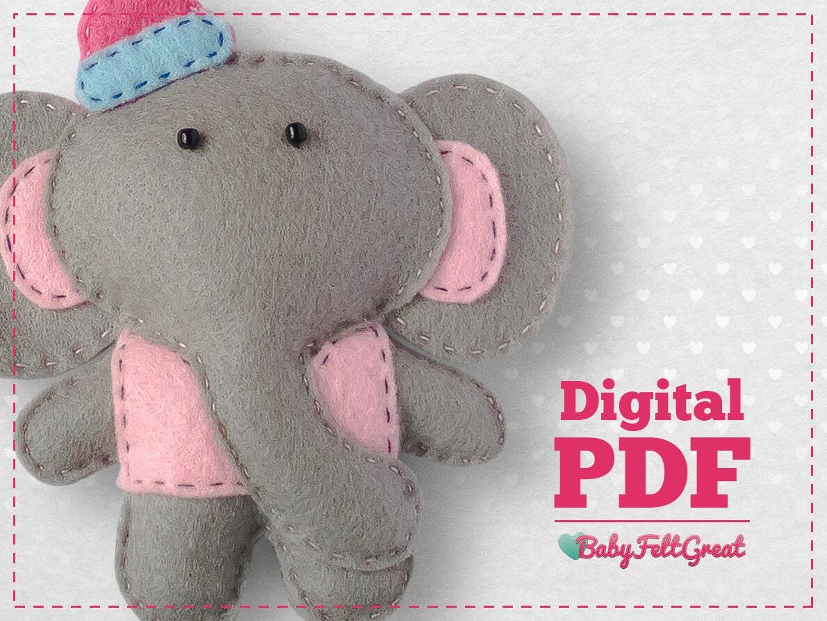 Felt animals sewing pattern pdf diy elephant felt ornament babys this is a digital file jeuxipadfo Gallery