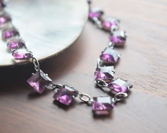 Antique Art Deco Amethyst Crystal Purple Glass Choker Necklace
