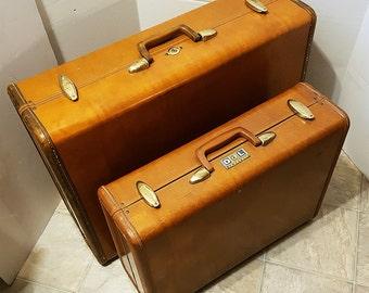 Vintage Set of Two Hardside Samsonite Suitcases, 1950s Schwader Bros