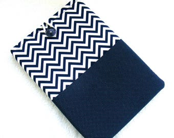 IPad Pro 12.9 Case, Kindle DX Case, Kindle DX White Cover, Cover for IPad Pro 12 Inch, IPad Case,  Navy and White Chevron Polka Dots Print