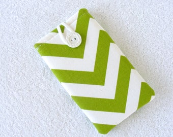 "Green and White Chevron Cell Phone Case, IPhone 6s Cell Phone Case, IPhone 7s Cell Phone Case, Cell Phone Cover Sleeve, 6 1/2""x 3 1/2"""