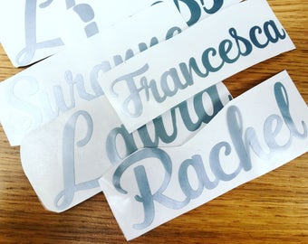Personalised vinyl name stickers for makig your own personalised bottles and orher items