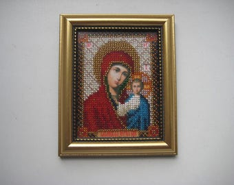 Icon Of Kazan Mother Of God. Beads. Handmade.