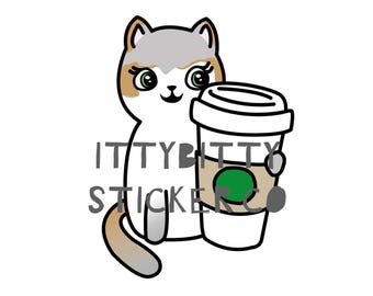 Coffee time with Mauly - Hand Drawn IttyBitty Kitty Collection - Planner Stickers