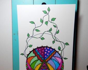 Original Artwork, Abstract Art, 5x7 Artwork, Unframed Art, Earthy Design, Spring Artwork
