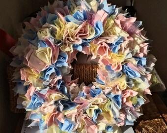 Pastel colour rag wreath