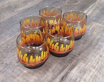 Vintage drinking glasses, set of 5
