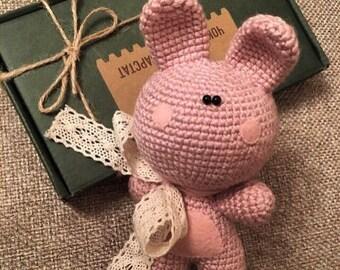 Pink crochet Bunny. Amigurumi funny bunny.