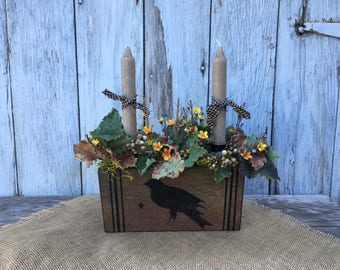 Crow Floral Arrangement with Candles, Fall Centerpiece, Autumn Arrangement, Primitive Centerpiece, Farmhouse Arrangement, Rustic Decor