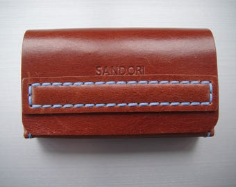 Sandori business card case, real, smooth Italian leather, magnetic closure, Brown with contrast stitching in light blue, handmade