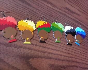 African Woman Earring - Colorful Wooden Earrings - Muilti Color Wood Earrings - Brown Tree Earrings Circle