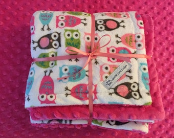 Minky Baby Blanket Girl / XL Baby Lovey / Baby Girl  / Baby Snuggle Blanket / Pink Dimple Dot / Baby Gift /Baby Shower Gift / Owls /