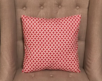 Red and White Pillow Cover