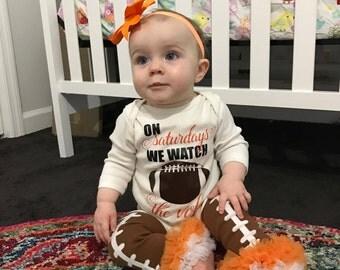 On Saturdays We Watch Football Infant Bodysuit or Toddler Shirt