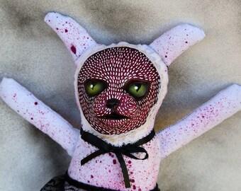 Creepy Cute Magenta Kitzy Katzy plushie, Collectible Dark Art Toy, Gothic Horror Cat Stuffed Animal