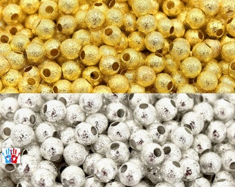 STARDUST beads, gold/silver 4mm brass PI03 in packs of 20/30/50
