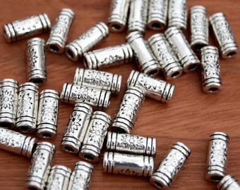 Lot of spacer beads tube Sun silver bead spacers - metal beads 10 mm 20/40/60/80/100 units
