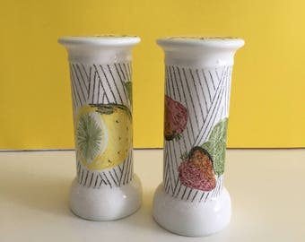 Vintage Giftcraft Tall Salt and Pepper Shakers/Fruit Motif Shaker/Made in Japan
