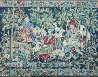 Antique Scenic French Tapestry Wool W Figures Dogs & Sheep Framed Huge 6' X 4'