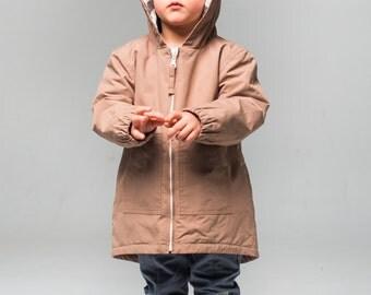 Toddler Raincoat - Warm Baby Parka - Beige Parka - Fleece Parka - Hooded Jacket - Stylish Toddler Raincoat - Parka For Boy - Parka for Girl