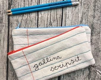 zipper pouch gallina scripsit