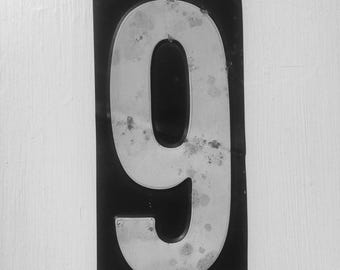 Vintage Number 9 From An American Gas Station,  House Number, Lucky Number, Favourite Number, Birthday