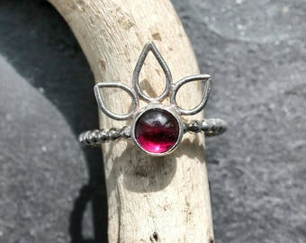 Sterling Silver and Garnet Stacking Ring