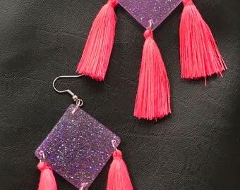 Statement glitter resin tassel earrings