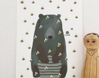 Bear with Beehive bee honey modern art print living room decoration illustration present minimalist abstract