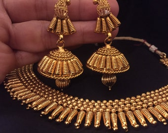 Tribal Design in Gram Gold Necklace with Jhumka | Gold Plated Necklaces