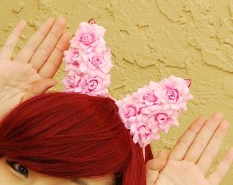 Floral Bunny Ear Headband | Flower Rabbit Ear Headband -- Pink Party