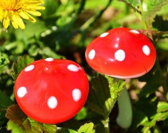 Glass mushroom fly agaric figurine glass mushroom miniature glass toy murano mushroom glass animals tiny small gift scul