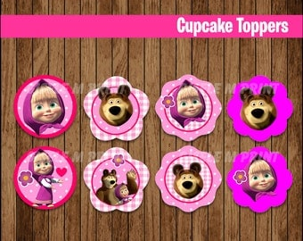 Masha and The Bear cupcakes toppers, Printable Masha and The Bear toppers, Masha and The Bear party toppers instant download