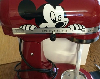 Mickey Mouse Peeking Kitchenaid Mixer Vinyl Decal Sticker Disney Kitchen Baking