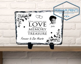 Beautiful Memorial Plaque Slate Photo and Text