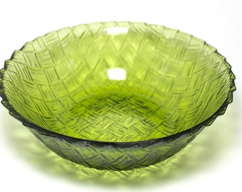 Vintage Green Indiana Glass Basket Weave Bowl, Green Carnival Glass Serving bowl