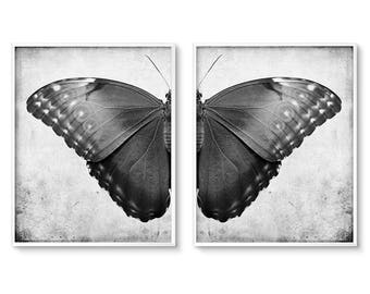 Gothic Home Decor, Butterfly Wall Art, Wall Art Set, of 2, Printable Art, Diptych Art, Black and White Print, Prints, Goth Decor, Butterfly